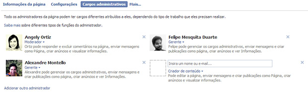 Adicionar administrador no facebook