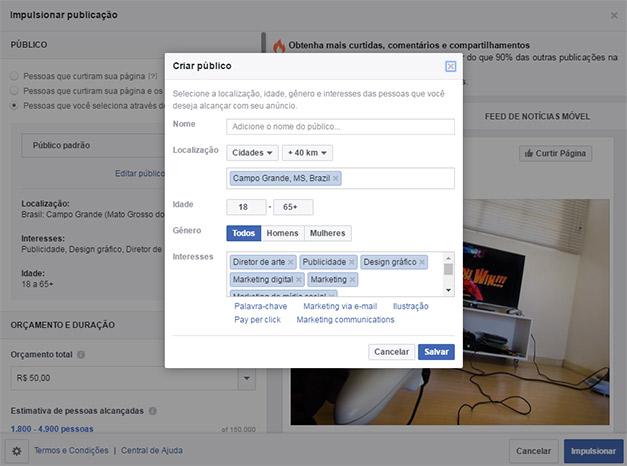 Criando o público no Facebook