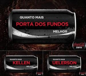 """Coca-Cola Zero com nome dos personagens do vídeo """"Na Lata"""" do canal Porta dos Fundos"""