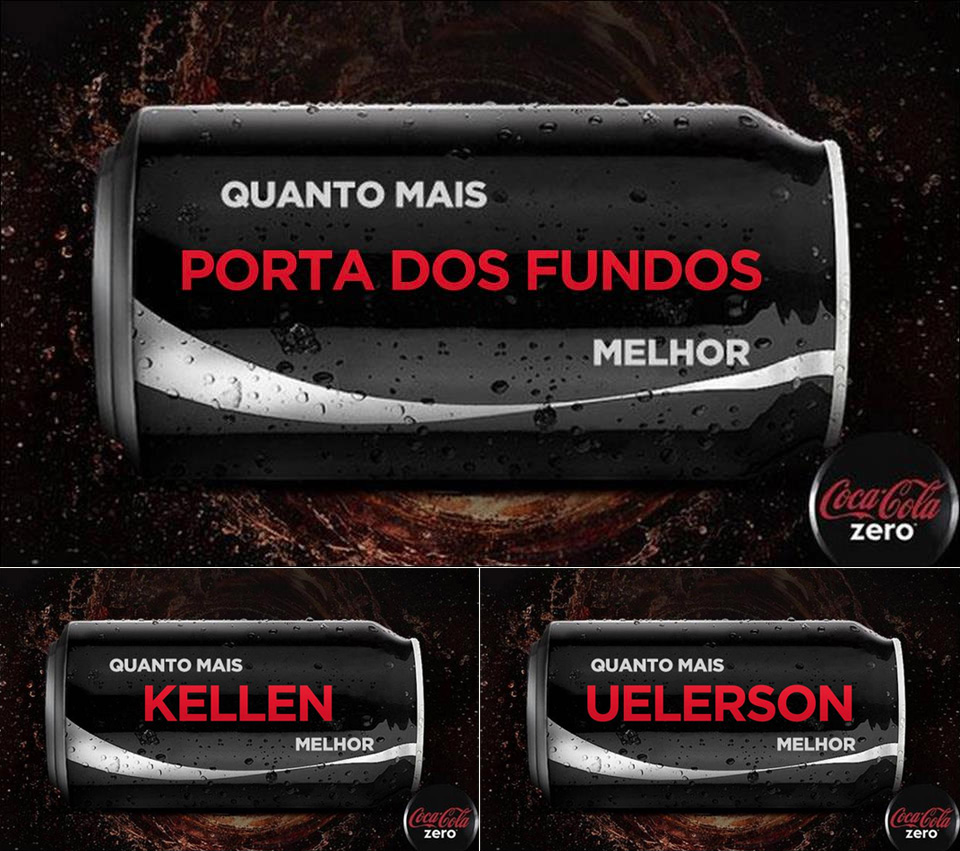 "Coca-Cola Zero com nome dos personagens do vídeo ""Na Lata"" do canal Porta dos Fundos"