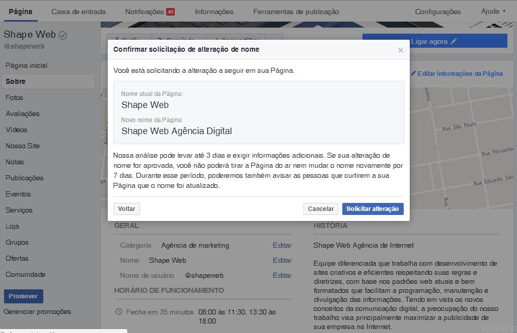 Janela de confirmação de alteração de nome da página no Facebook