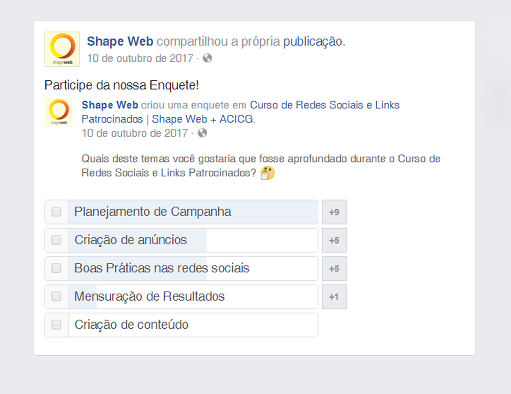 Enquete de evento do Facebook