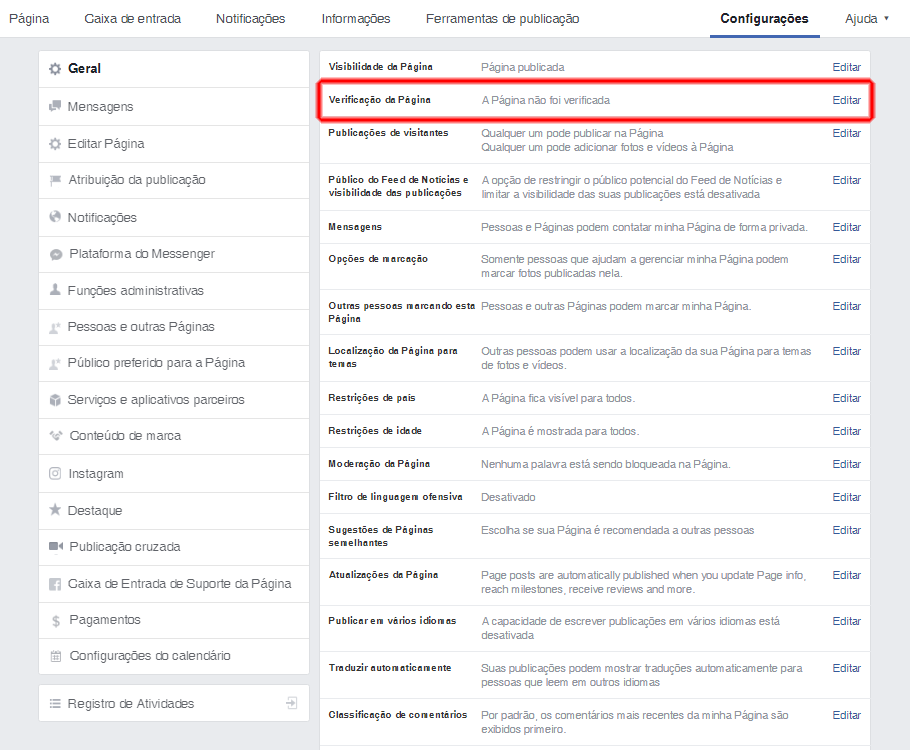 solicitar selo de autenticidade do Facebook