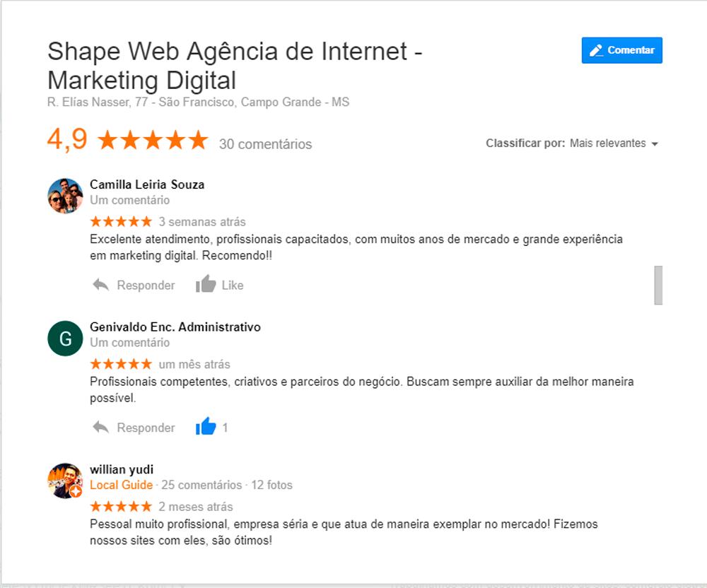Esse é um exemplo de avaliação dentro da Página da empresa no Google e no Maps