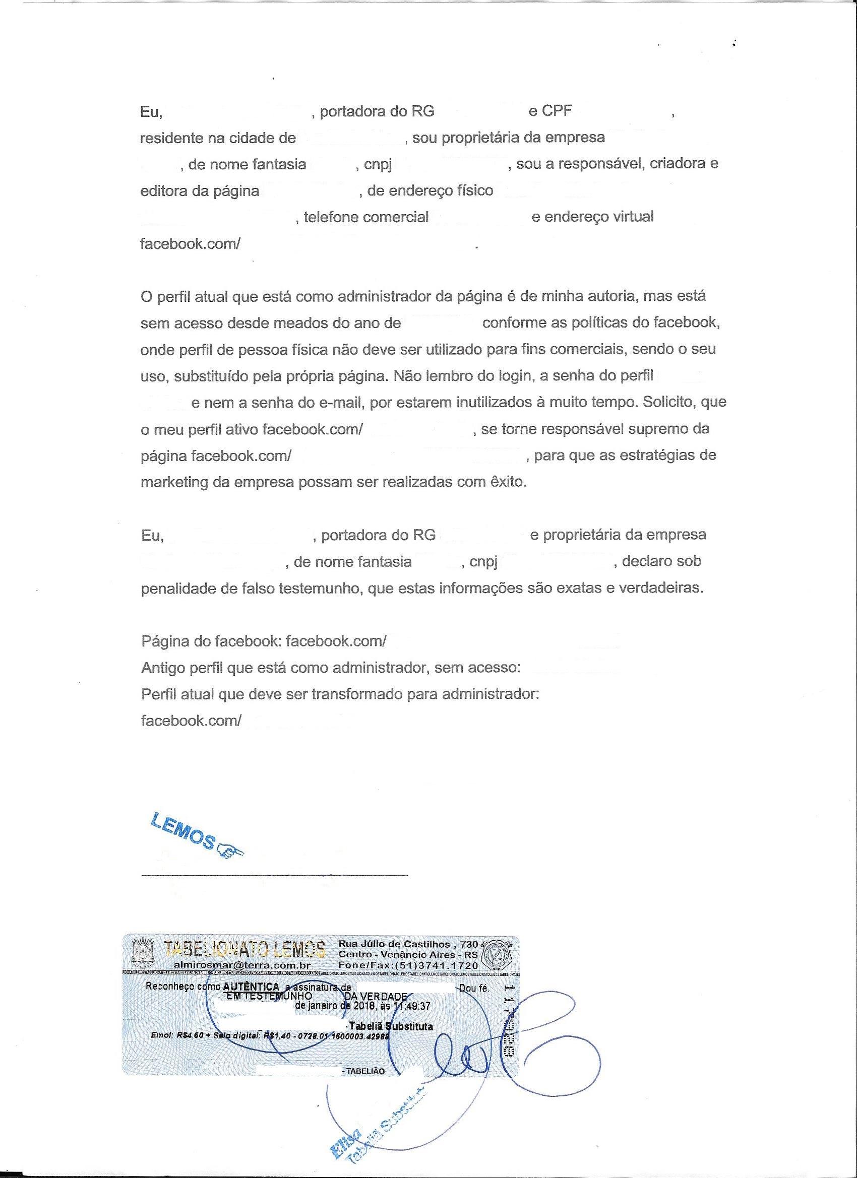 Modelo de Carta para Recuperação de Página no Facebook