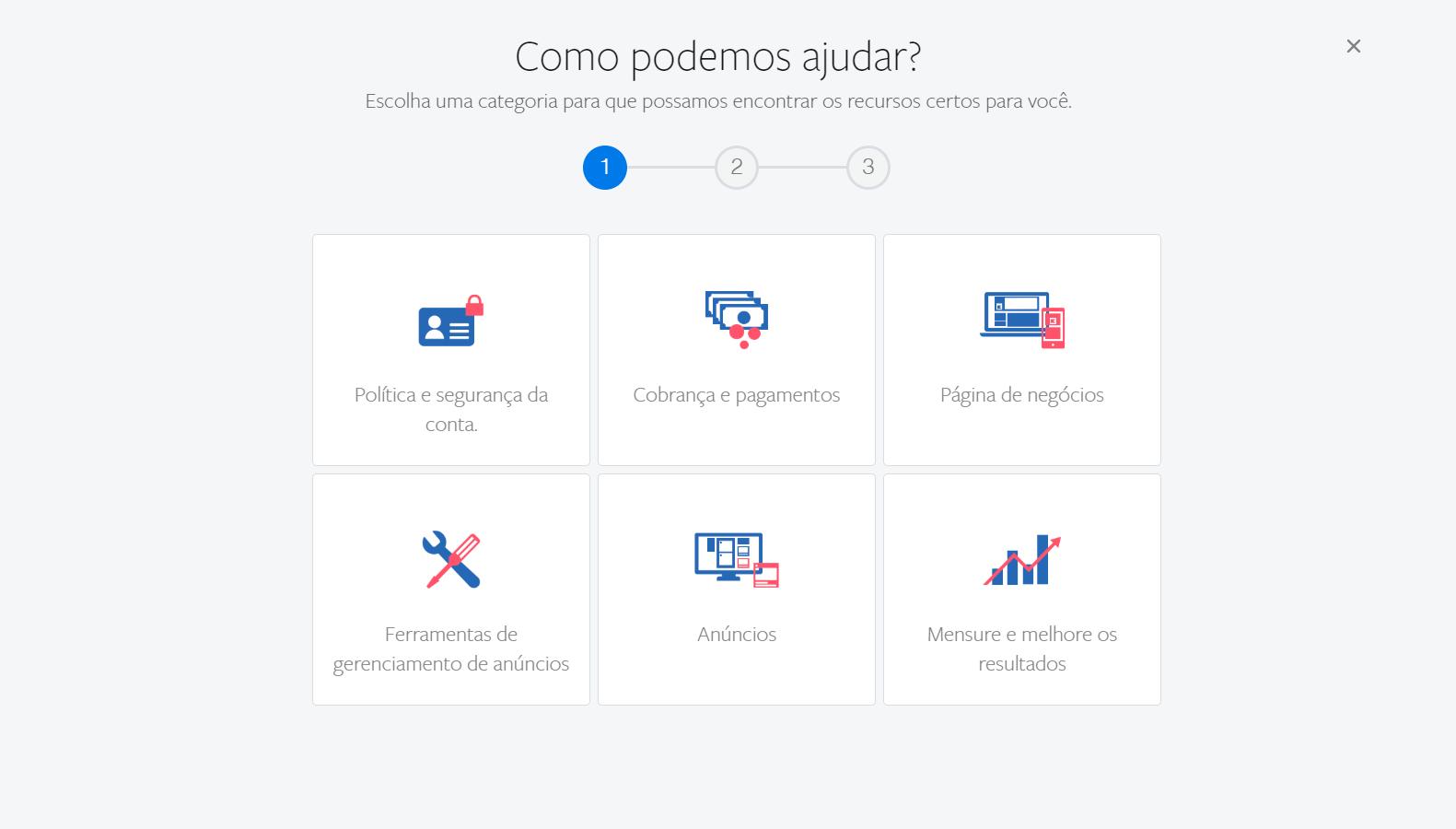 Categorias do suporte do Facebook para Empresas