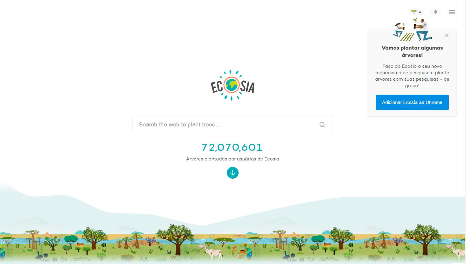 Site Ecosia - Mais de 70 milhões de árvores plantadas